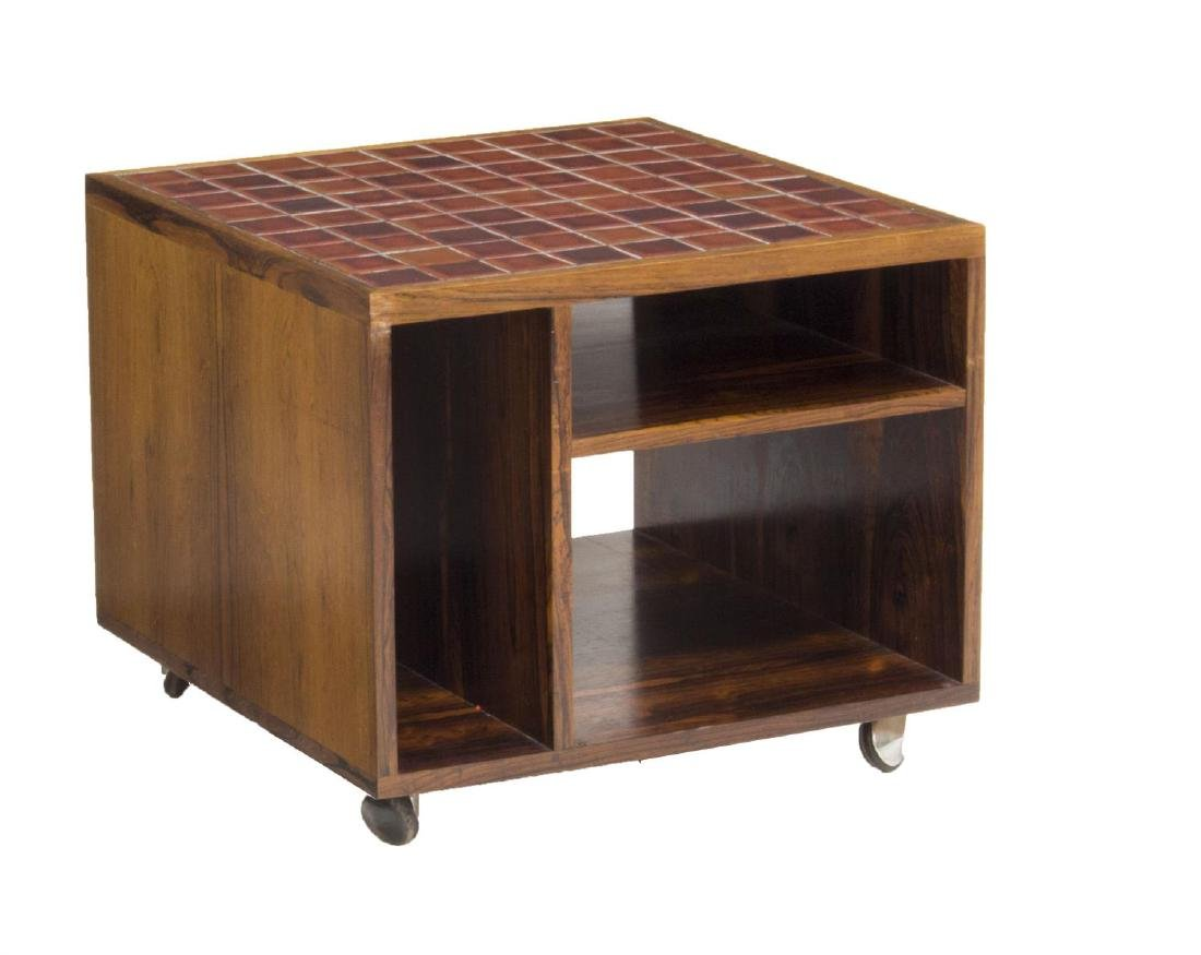 DANISH MID-CENTURY MODERN TEAKWOOD TILE SIDE TABLE