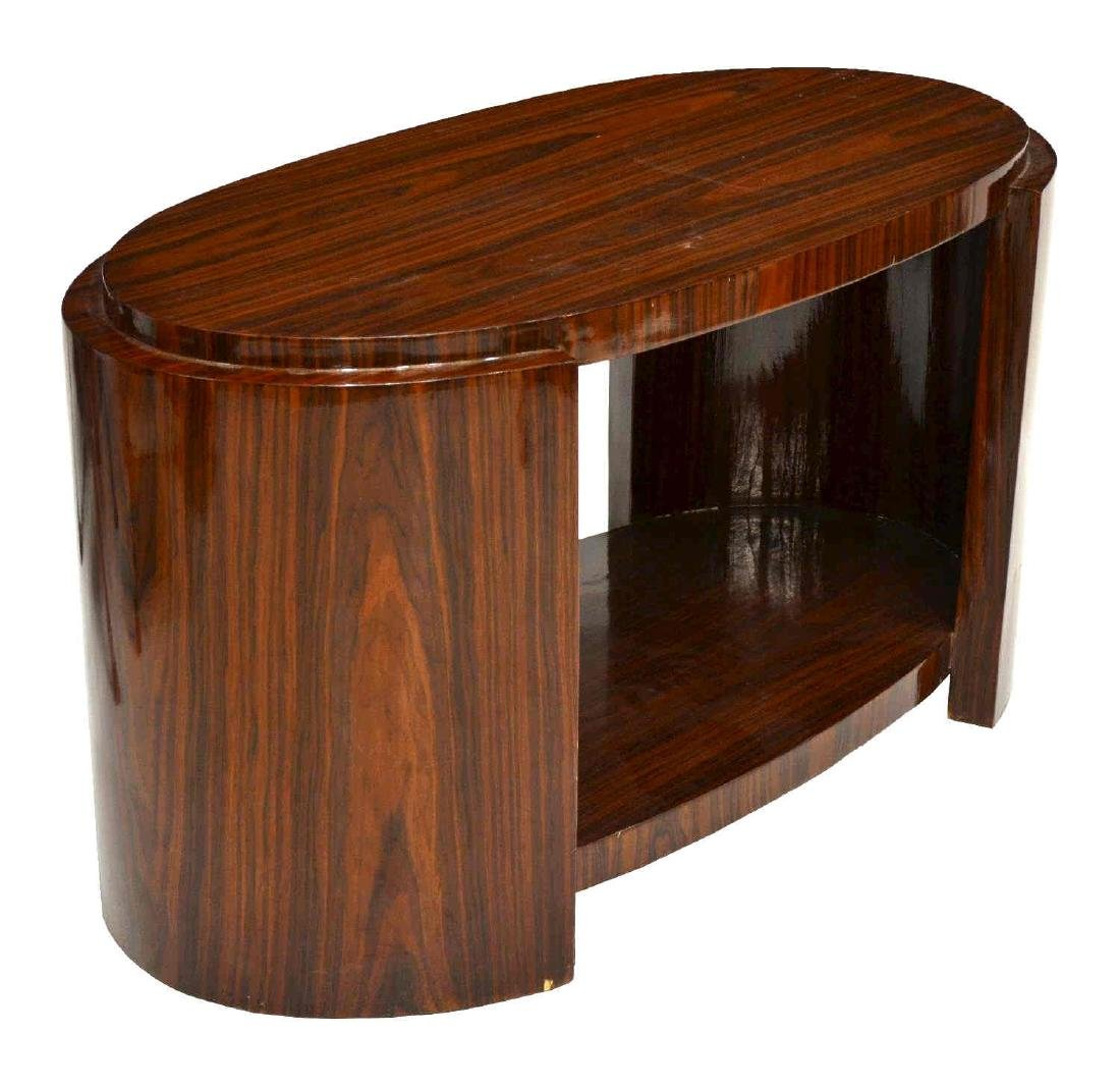 FRENCH ART DECO ROSEWOOD OVAL SIDE TABLE