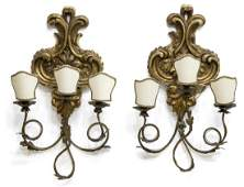 2ANTIQUE LOUIS XV STYLE WOOD  METAL SCONCES
