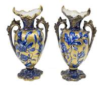 2 VICTORIAN THOMAS FORESTER FLOW BLUE VASES