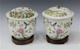 2 CHINESE FAMILLE ROSE ENAMELED PORCELAIN JARS