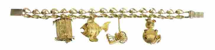 ESTATE 14KT GOLD  GOLD PLATED CHARM BRACELET
