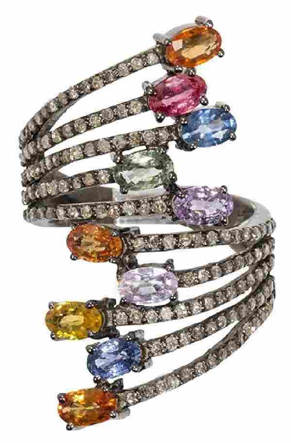 LADIES MULTI-COLOR SAPPHIRE, DIAMOND, SILVER RING