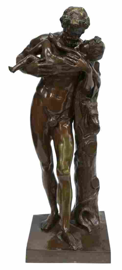 LARGE BRONZE FIGURAL GROUP, ROMAN FATHER & SON