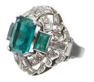 14KT WG EMERALD  DIAMOND ESTATE COCKTAIL RING