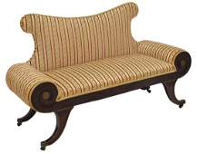 FRENCH EMPIRE STYLE UPHOLSTERED SETTEE