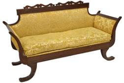 AMERICAN EMPIRE MAHOGANY UPHOLSTERED SETTEE