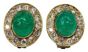 2 ESTATE 14KT GOLD EMERALD DIAMOND EARRINGS
