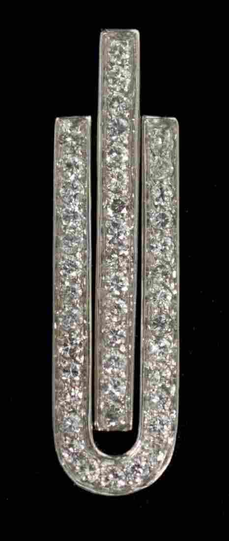 LADIES 14KT WHITE GOLD DIAMOND SET MODERN PENDANT