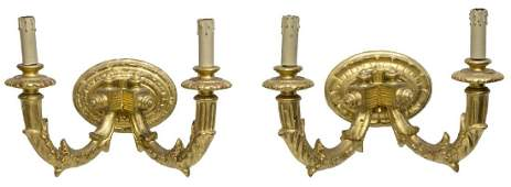 (2) LOUIS XVI STYLE GILDED WOOD WALL SCONCES