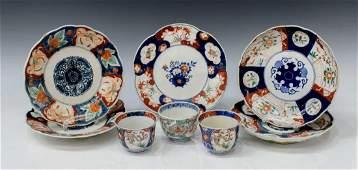 (8) JAPANESE IMARI PORCELAIN PLATES & CUPS