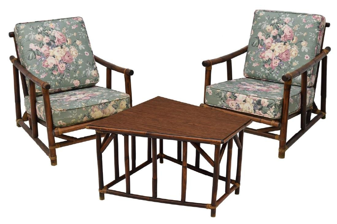 Attractive (3) RATTAN FRAMED FICKS REED CHAIRS U0026 SIDE TABLE