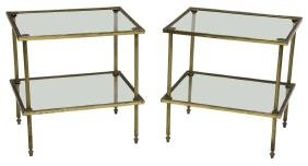 (2) Brass Two-tier Tables, Style Of Maison Bagues