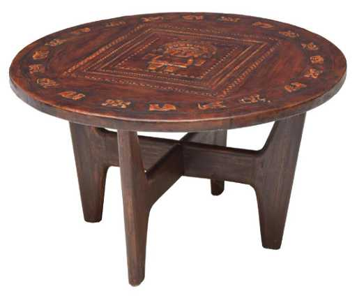 angel pazmino mid century leather top coffee table - Leather Top Coffee Table