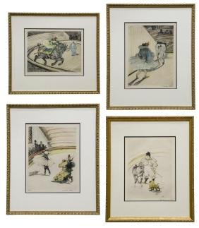 (4) Framed Circus Prints After Toulouse-lautrec