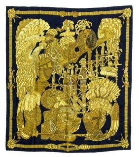 Hermes 'arments En Penache' Silk Twill Scarf