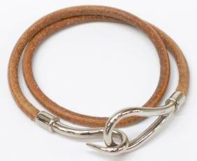 Hermes 'jumbo' Brown Leather & Silver Bracelet