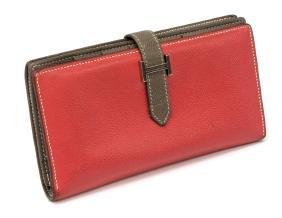 Hermes 'bearn' Pink & Brown Leather Bi-fold Wallet