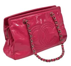 Chanel Quilted Pink Patent Leather Cc Tote Handbag
