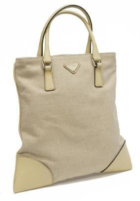 Prada Small Woven Jute And Leather Tote Bag