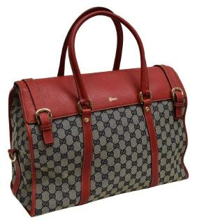 Gucci Monogram Canvas & Leather Flap Tote Bag