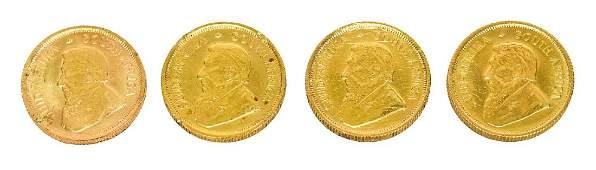 (4) KRUGERRAND GOLD COINS, EACH 1/10 OUNCE