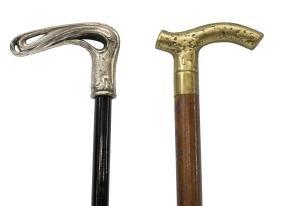 (2) Brass & Silverplate Topped Walking Sticks