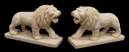 2 CARVED WHITE MARBLE LION SCULPTURES