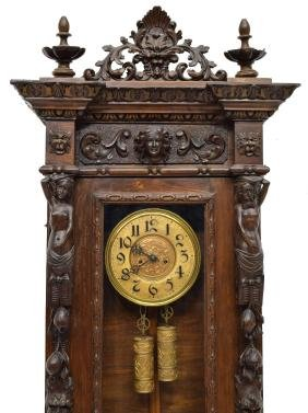 Italian Figural Carved Weight Driven Wall Clock