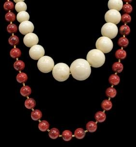 (2) Estate Beaded Necklaces, White & Red Coral