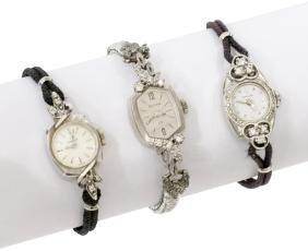 (3) Vintage Ladies Diamond Set Gold Wristwatches