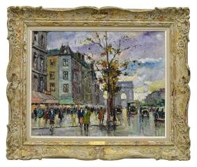M. Vernier (french, 20th C.) Paris Street Scene