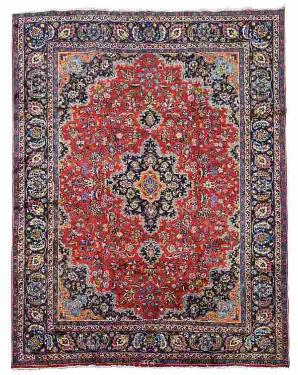 """HAND WOVEN SIGNED PERSIAN MASHAD RUG, 8'1"""" x 10'9"""""""