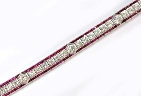 Ladies Art Deco Platinum, Diamond & Ruby Bracelet