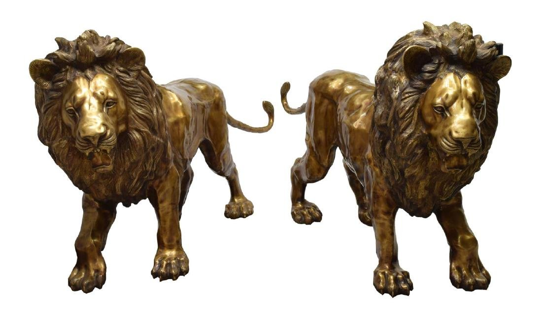 "(PAIR) LIFESIZE STANDING BRASS LIONS, 88""W"