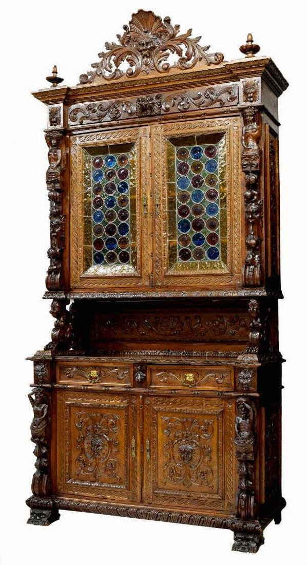 HIGHLY CARVED STAINED GLASS DOOR BOOKCASE