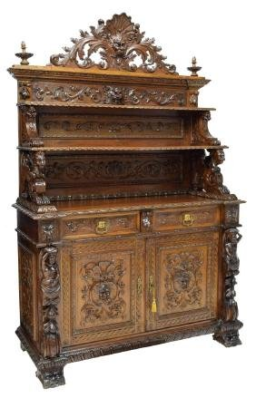 Italian Highly Carved Figural Sideboard