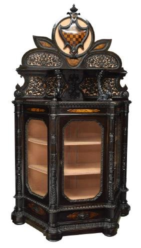 Italian Renaissance Revival Carved Display Cabinet