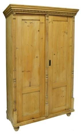 Rustic Pine Wood Two-door Armoire