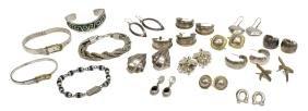 (18) Mexico & Signed Sterling Earrings & Bracelets