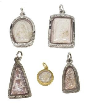 (5) Thai Buddhist Somdej Toh Relic Amulet Pendants