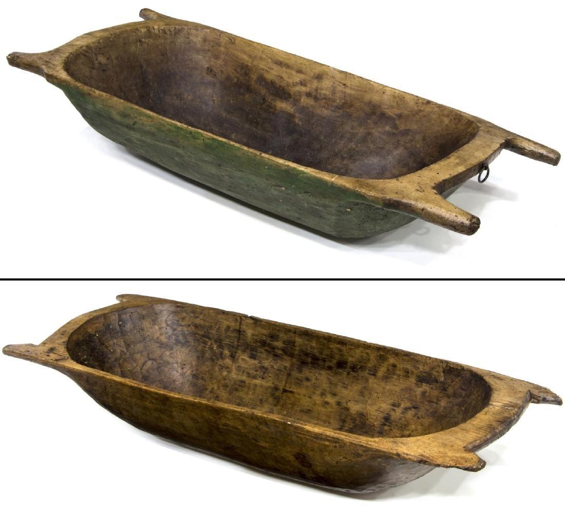 (2) PRIMITIVE CARVED WOOD DOUGH BOWLS