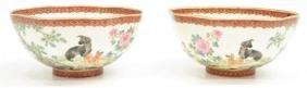 (2) Chinese Polychrome Enameled Eggshell Bowls