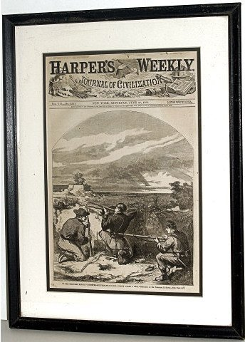 317: THREE FRAMED CIVIL WAR NEWS PAPERS HARPERS WEEKLY