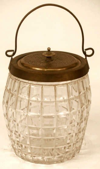323: ANTIQUE PATTERN GLASS BISCUIT BARREL