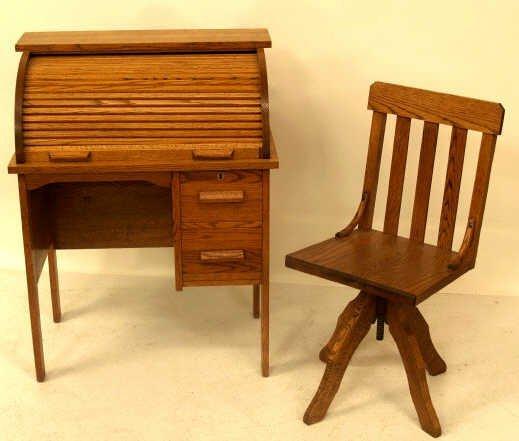 Fantastic 416 Antique Oak Matching Childs Roll Top Desk Chair Dailytribune Chair Design For Home Dailytribuneorg