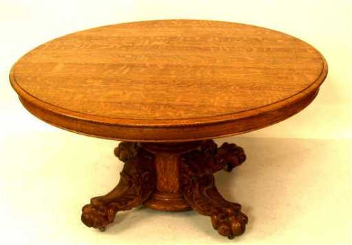 454 American Antique Oak Claw Foot Dining Table
