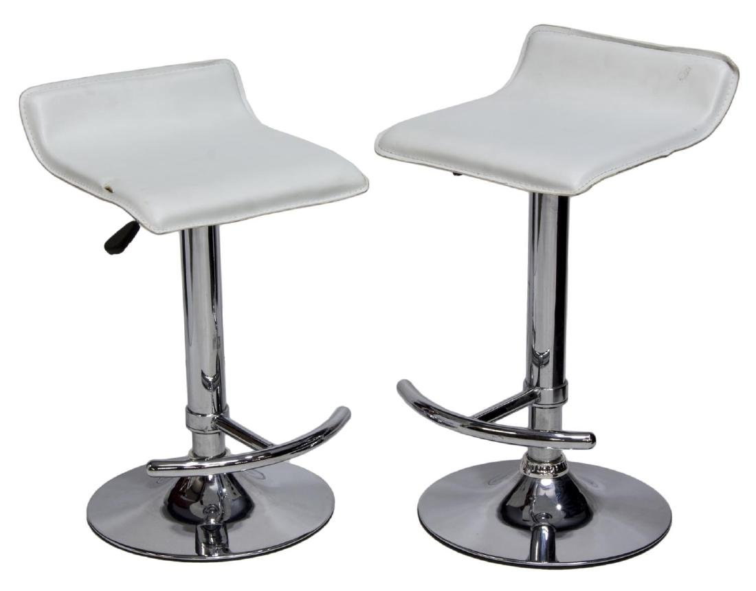 (2) CONTEMPORARY MODERN CHROME BAR STOOLS