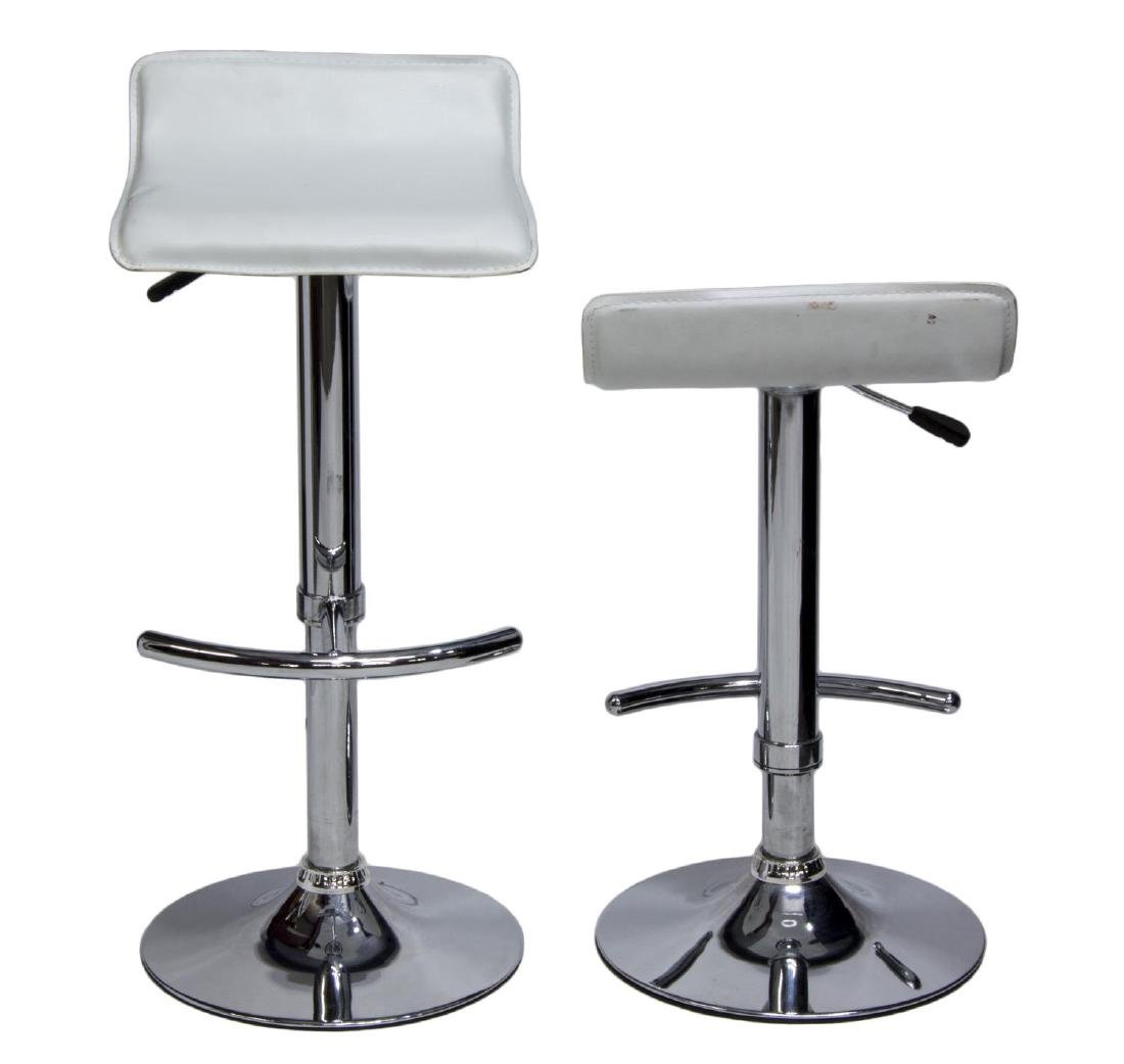 (2) CONTEMPORARY MODERN CHROME BAR STOOLS - 2