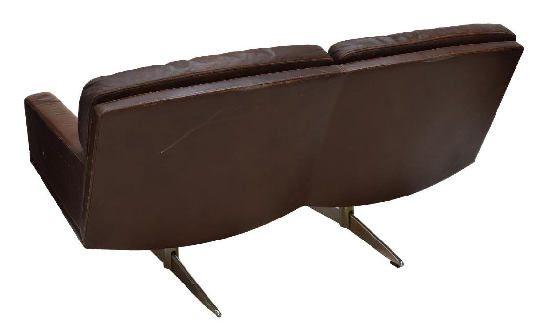DANISH MID-CENTURY MODERN LEATHER 2-SEAT SOFA - 3
